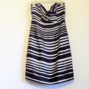 H&M Strapless Navy and White Striped Dress